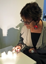 Museum of Miniature-Writer_Denyse_Woods with Aissa-Lopez miniature_PhotoBy_MarieBrett
